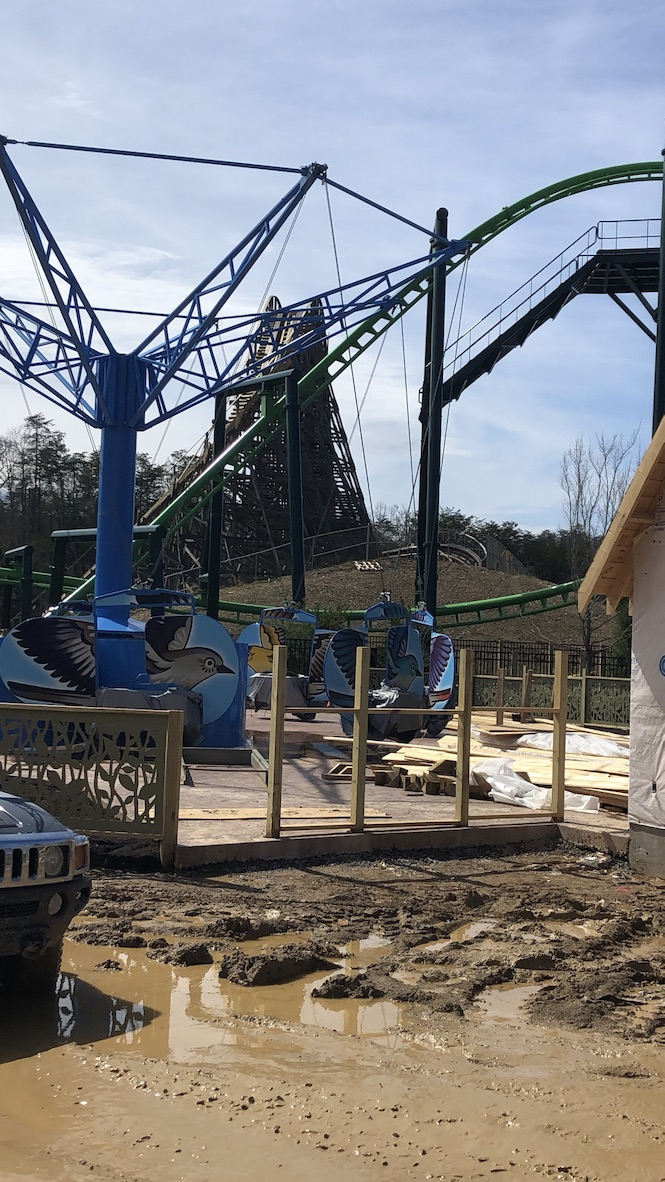 The Mad Mockingbird ride during construction at Dollywood