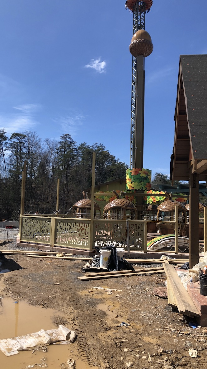 Treetop Tower ride at Wildwood Grove during construction