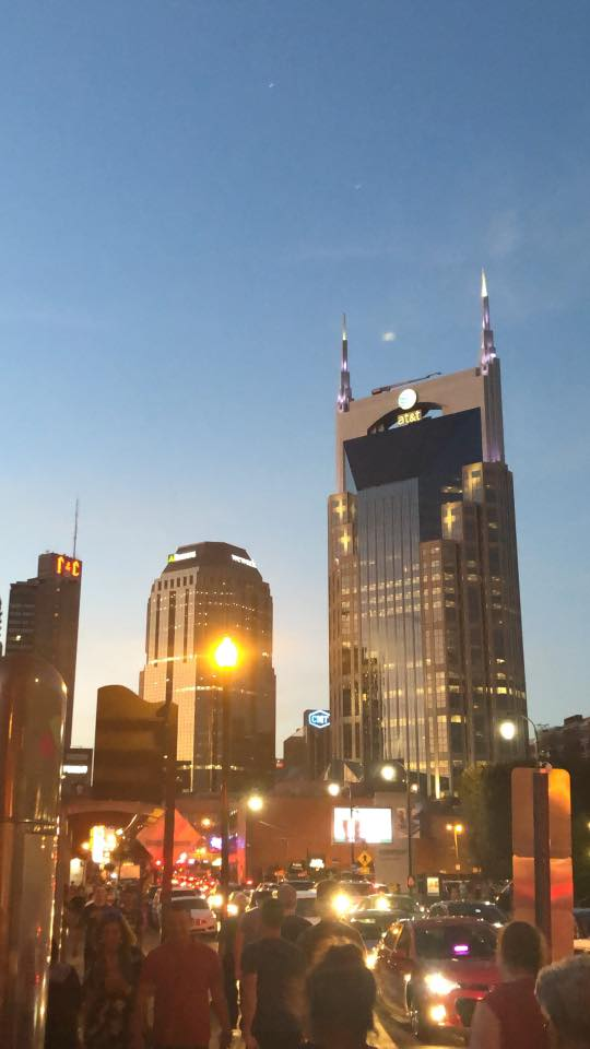 downtown Nashville at dusk