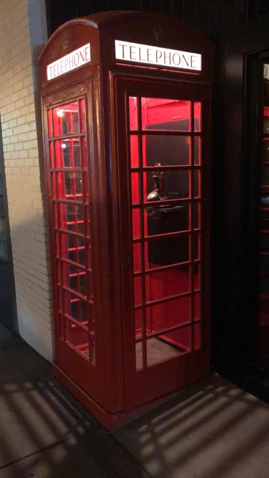 antique red phone booth from London