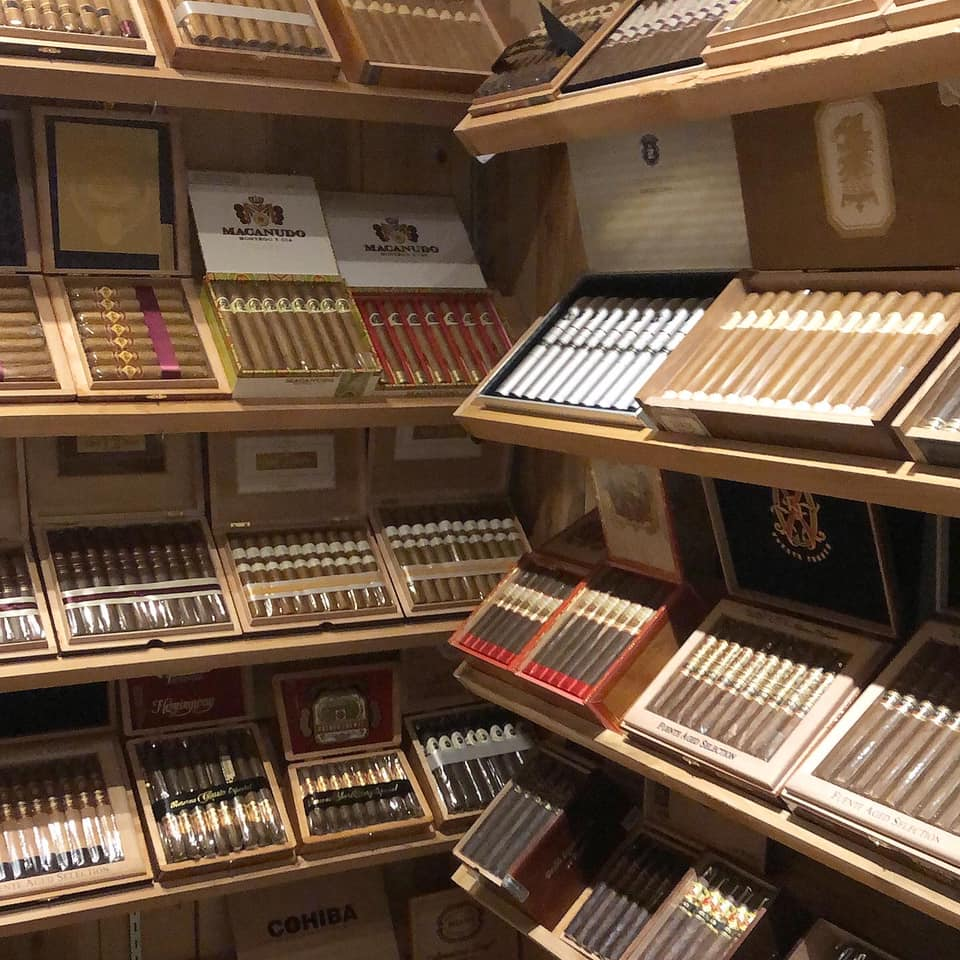 walk in humidor filled with cigars
