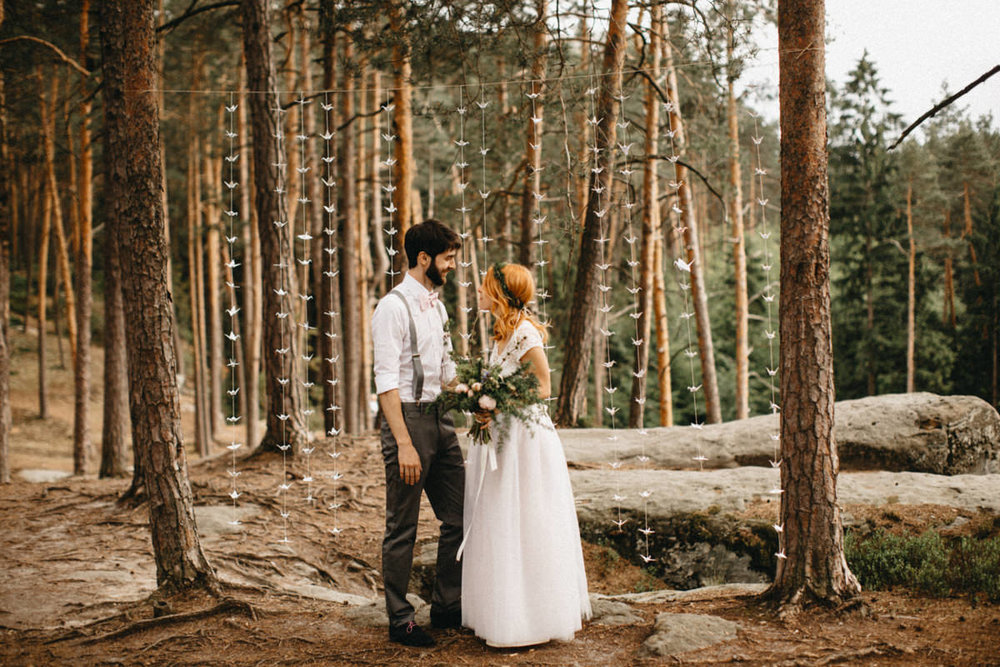 wedding couple in a forest