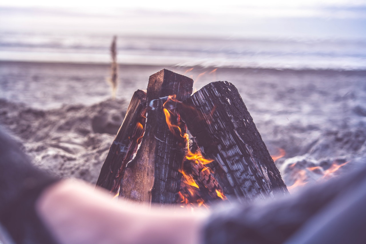 fireplace on a beach