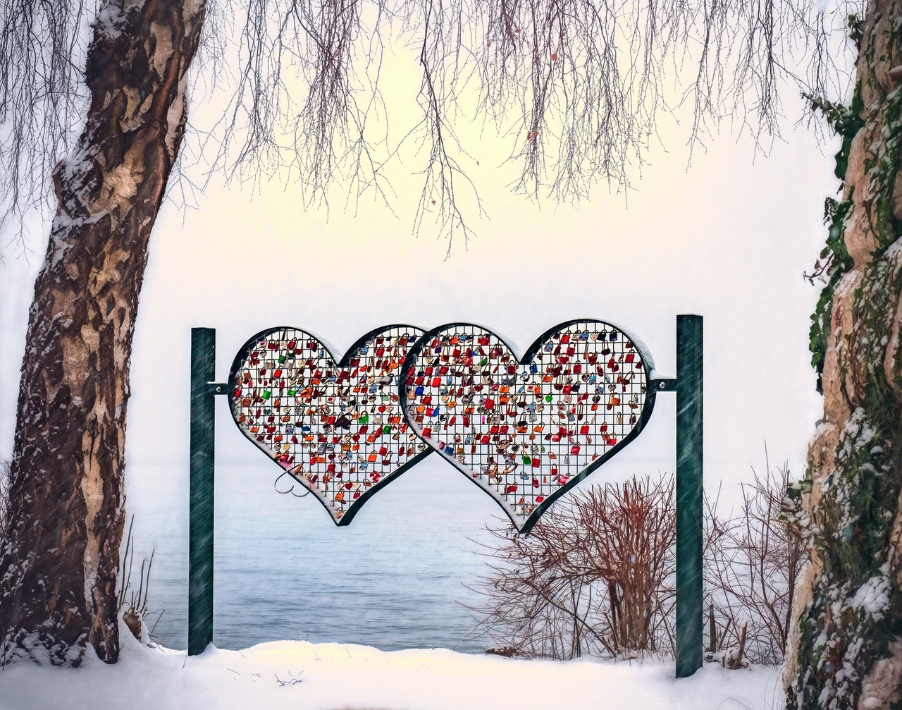 fence shaped like two hearts