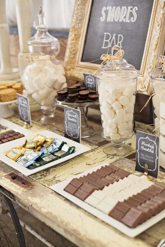 rustic s'more mini wedding bar with elegant details