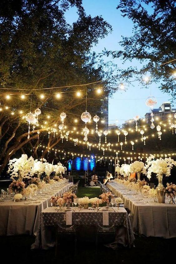 outdoor table lights hanging wedding
