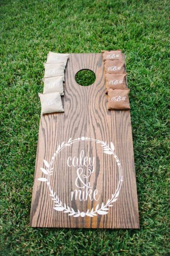 Wedding cornhole board custom