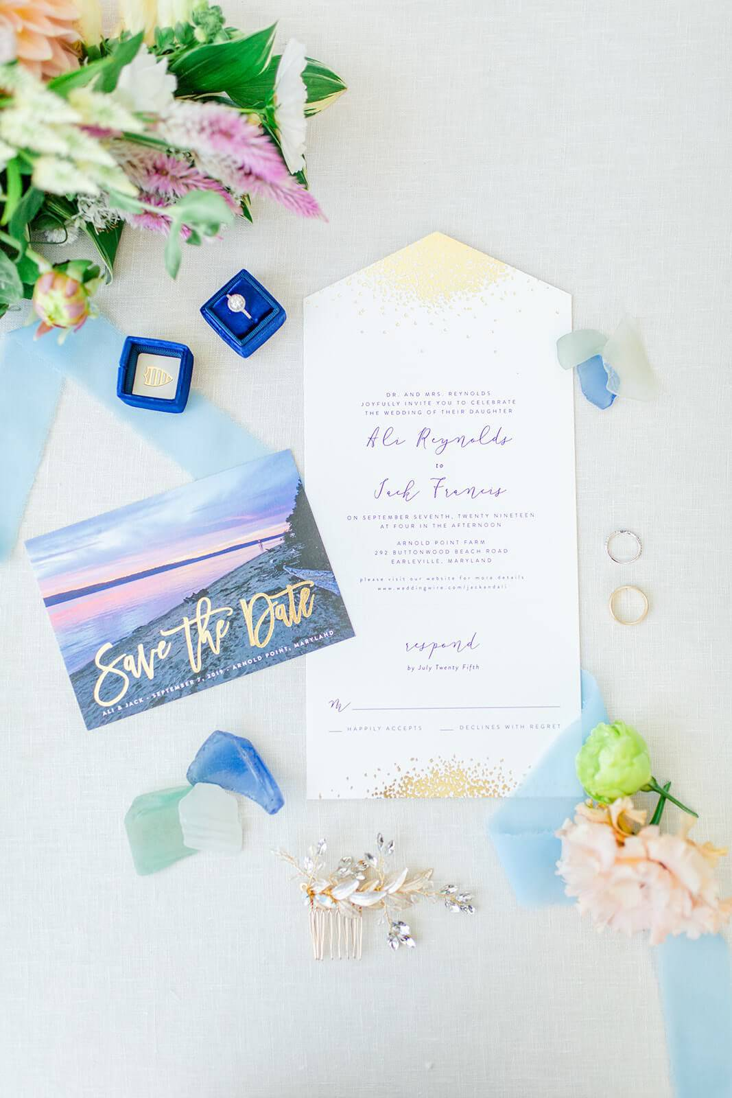 beachy wedding stationary