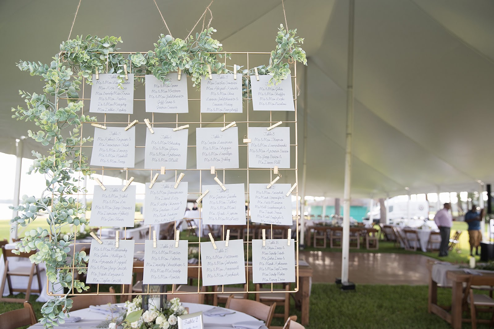 seating chart at wedding reception