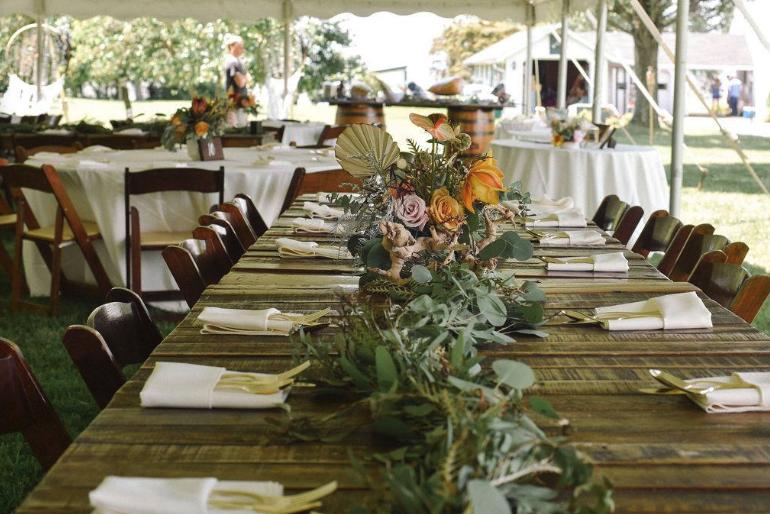 wedding table with flower arrangements