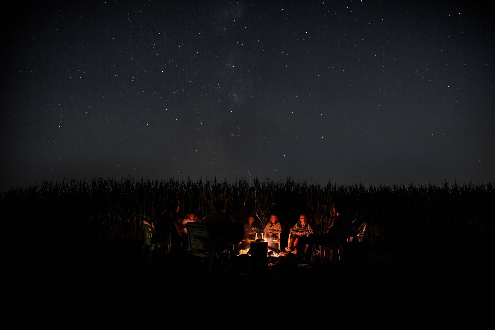 group of people around a campfire
