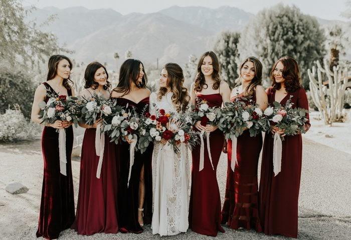 bridesmaids in maroon