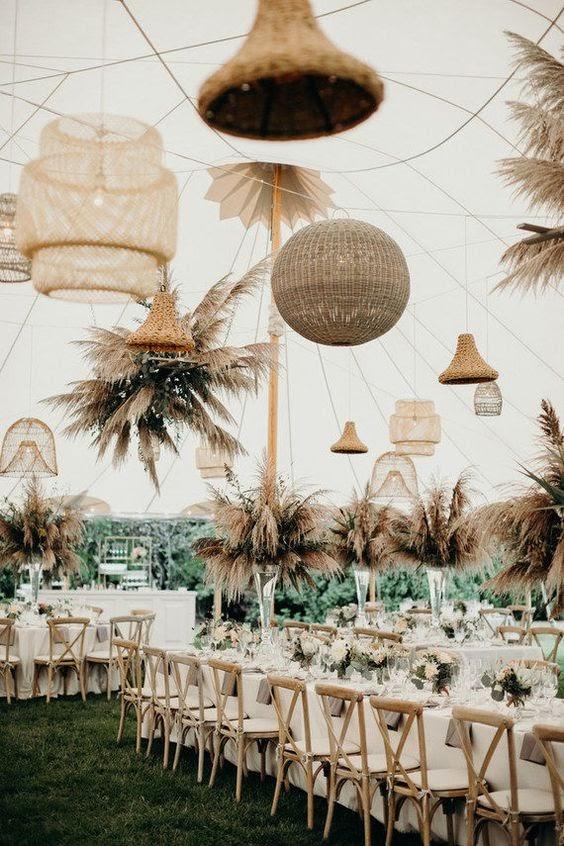Rattan chandeliers. Photo via brides.com