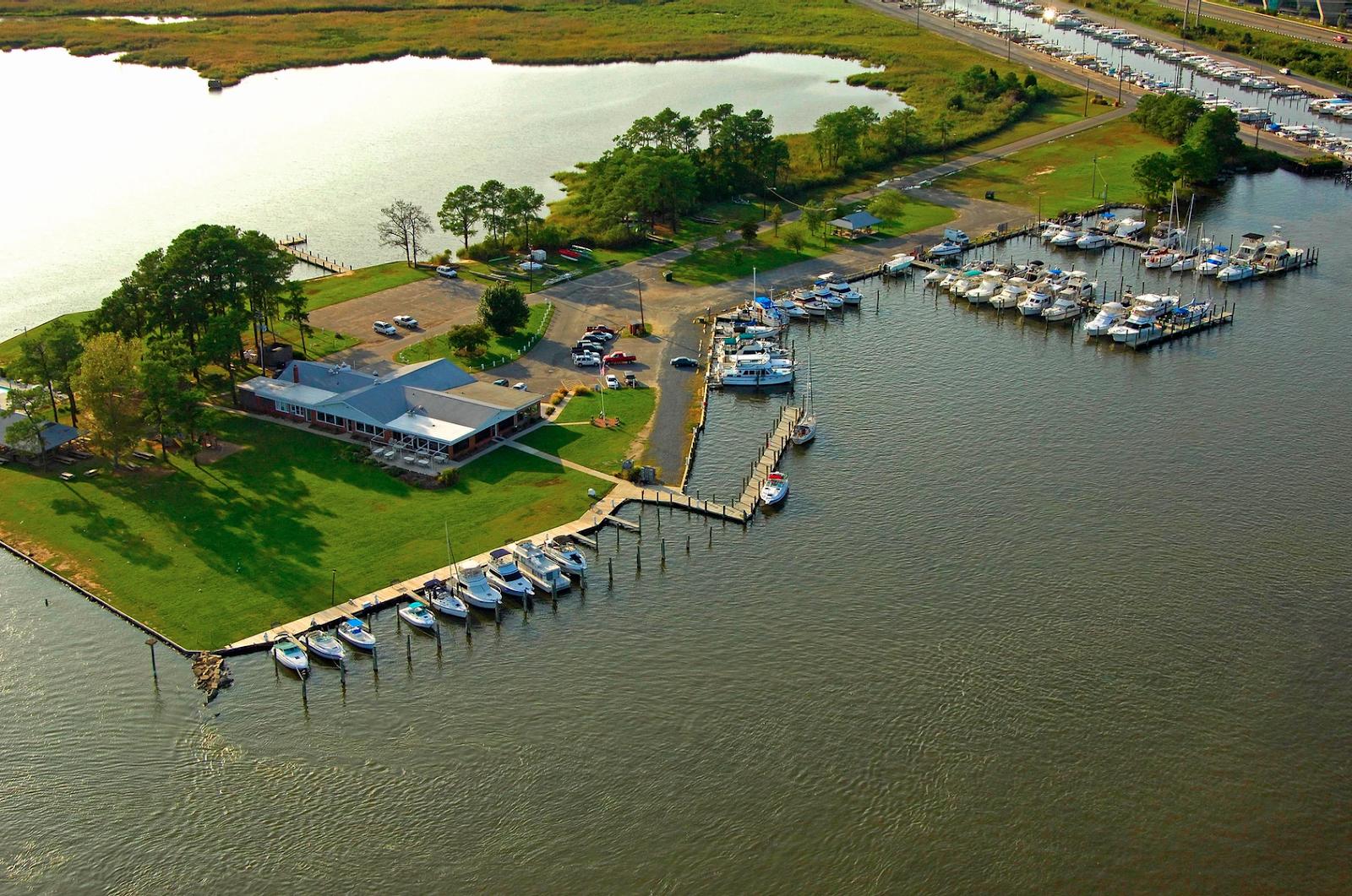 Aerial view of Kent Island Yacht Club. photo via kiyc.org