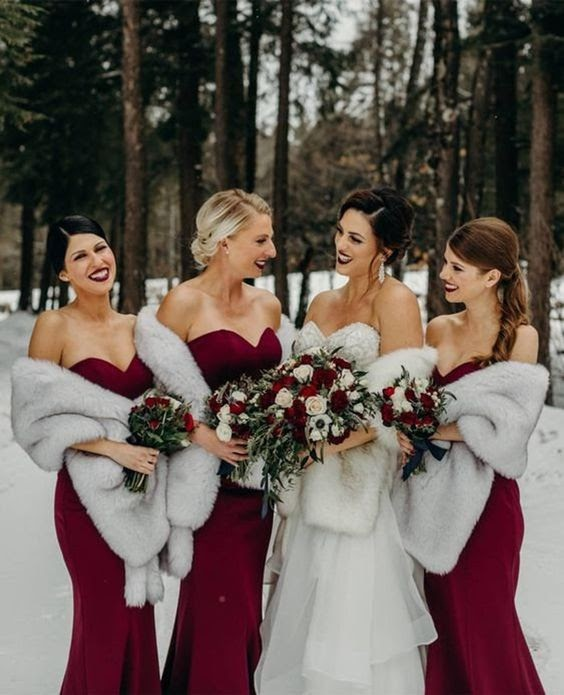 Bridal party in fur wraps. photo via etsy.com