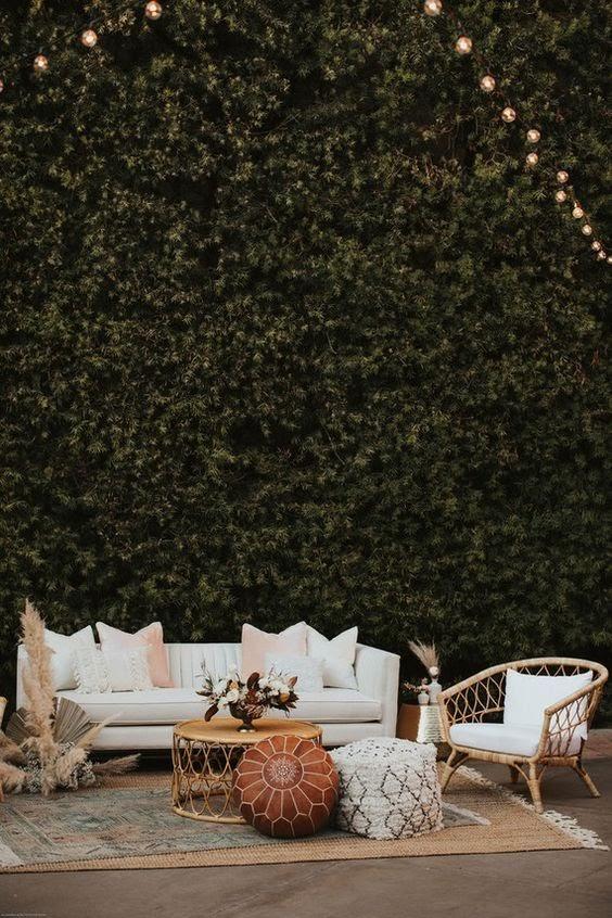 Lounge area at wedding. Photo via 100layercake.com