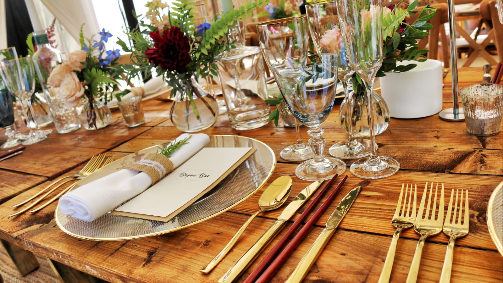 closeup of wedding table arrangements