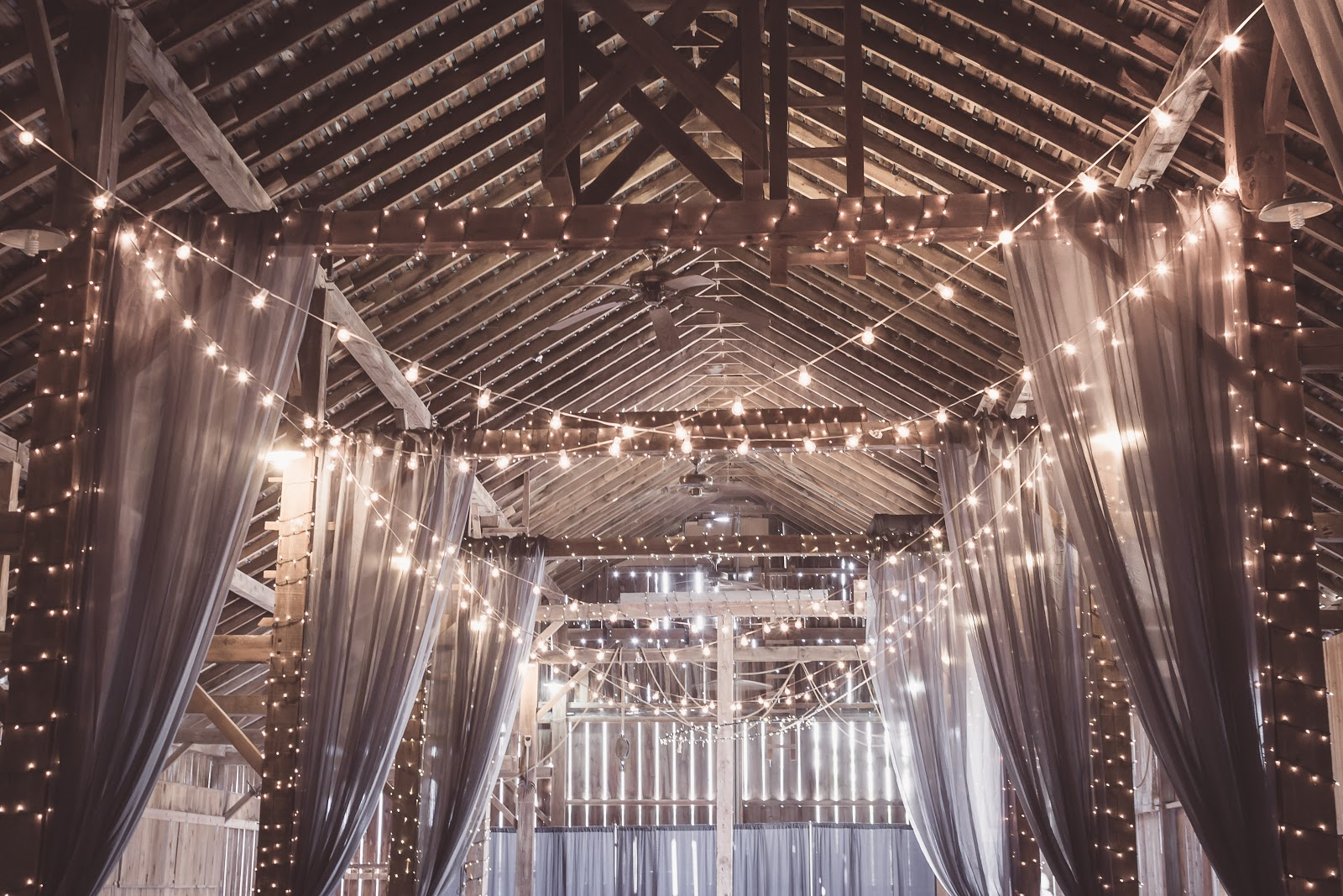 lights and drapes hanging from the ceiling