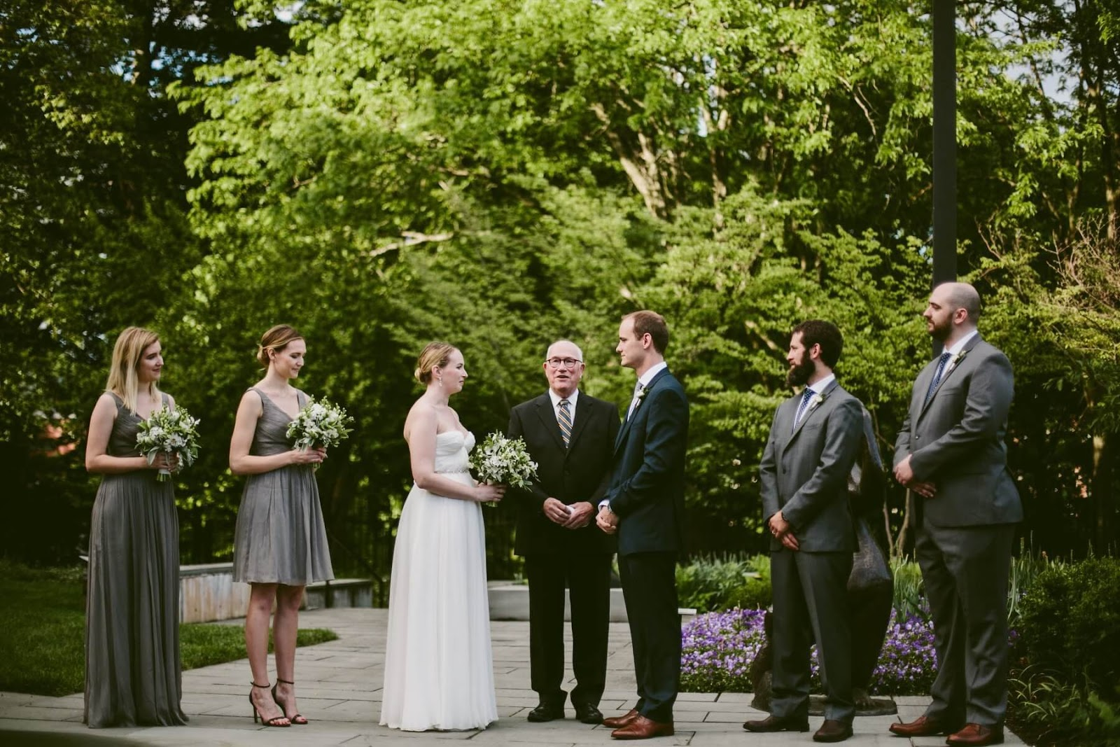 small wedding party during ceremony