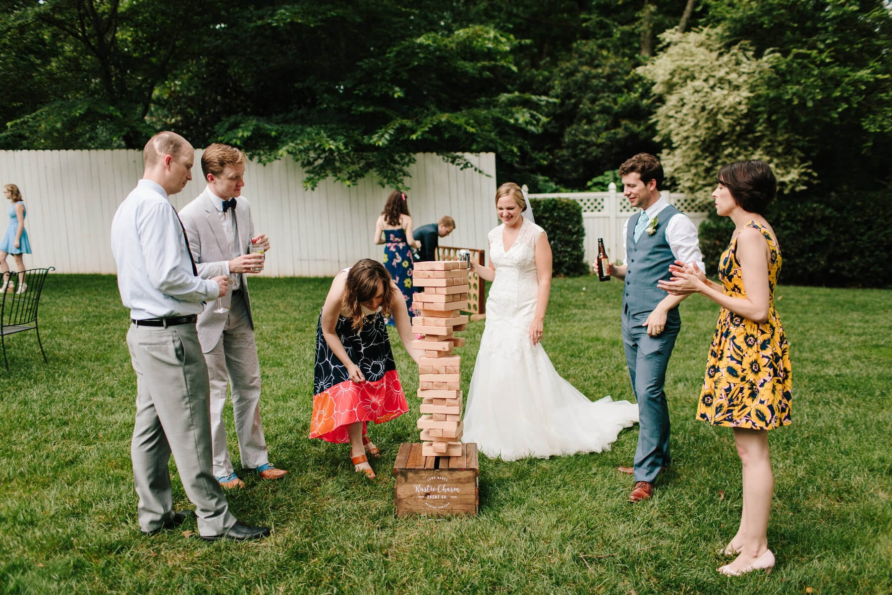 wedding party playing jenga
