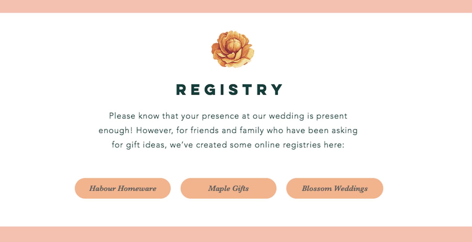 wedding registry webpage