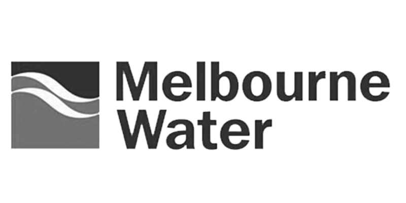black and white Melbourne Water logo
