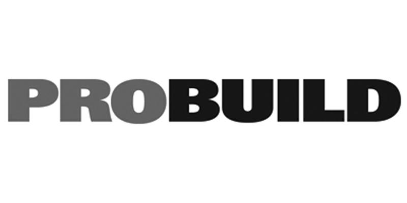 black and white Probuild logo