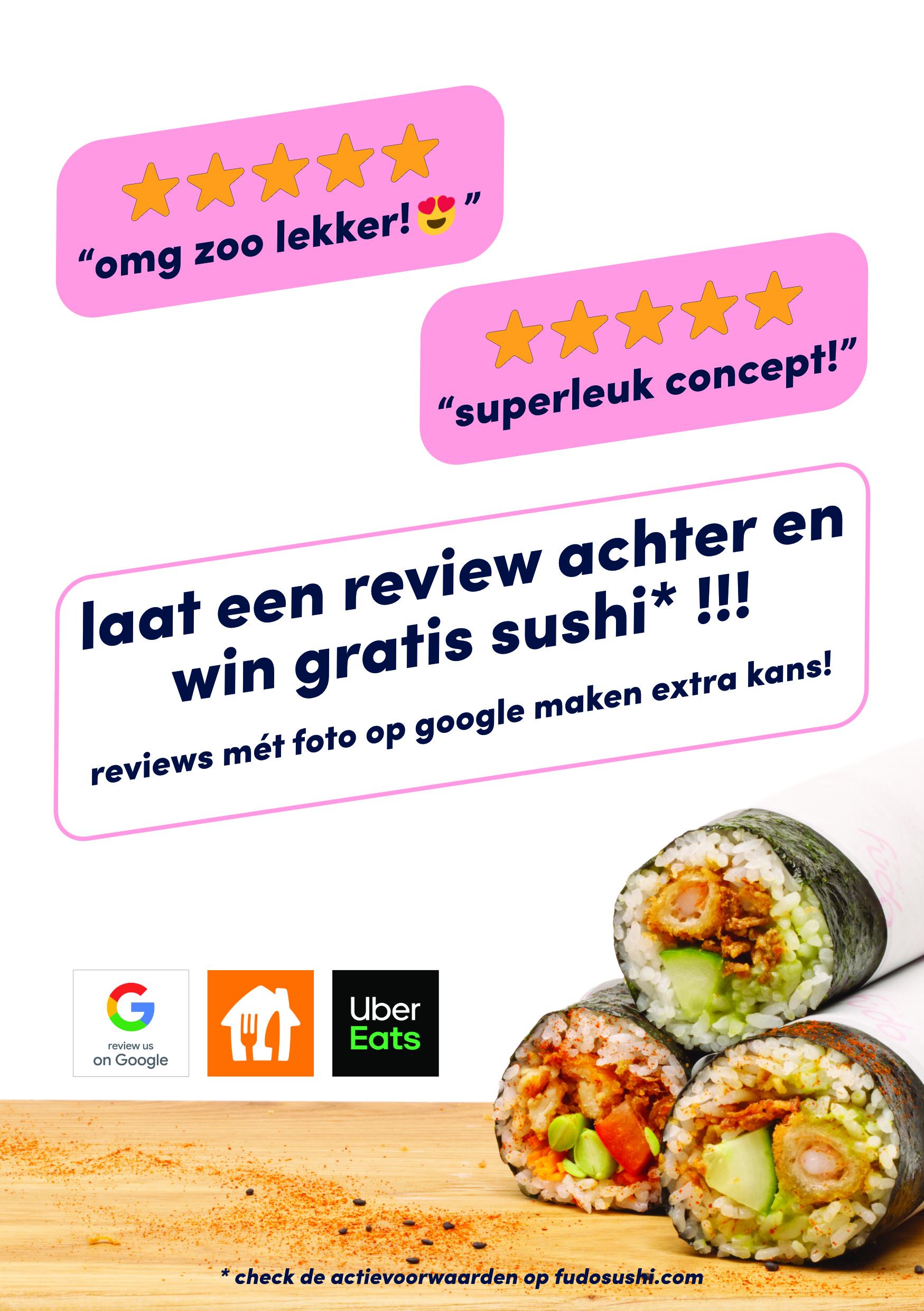 schrijf een review, win gratis sushi!
