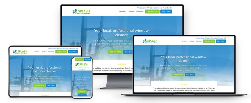 Responsive line up example for Splash Window Cleaning