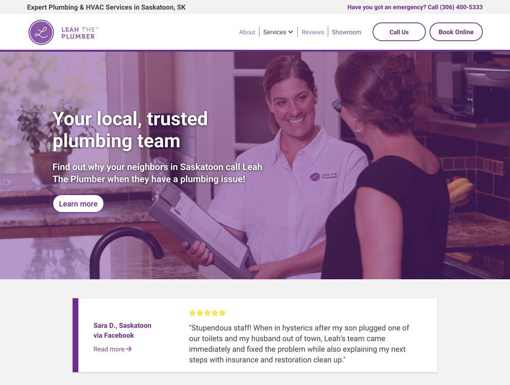 Social proof example from Leah the Plumber