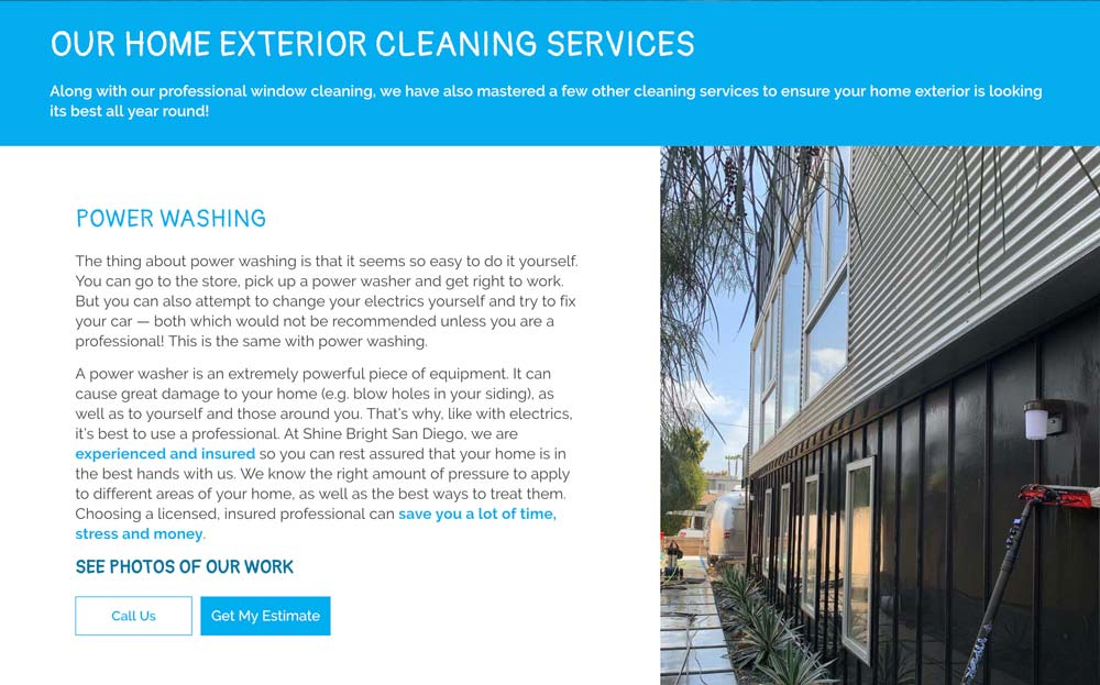 CTA in service section example from Shine Bright San Diego