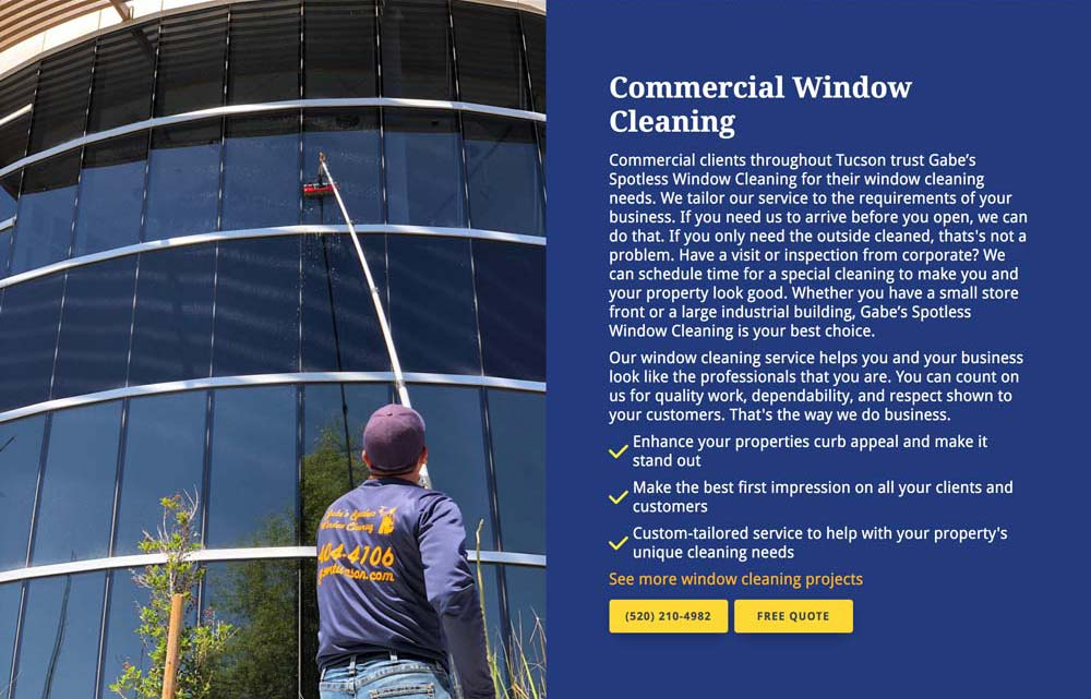 Service block example from Gabe's Spotless Window Cleaning