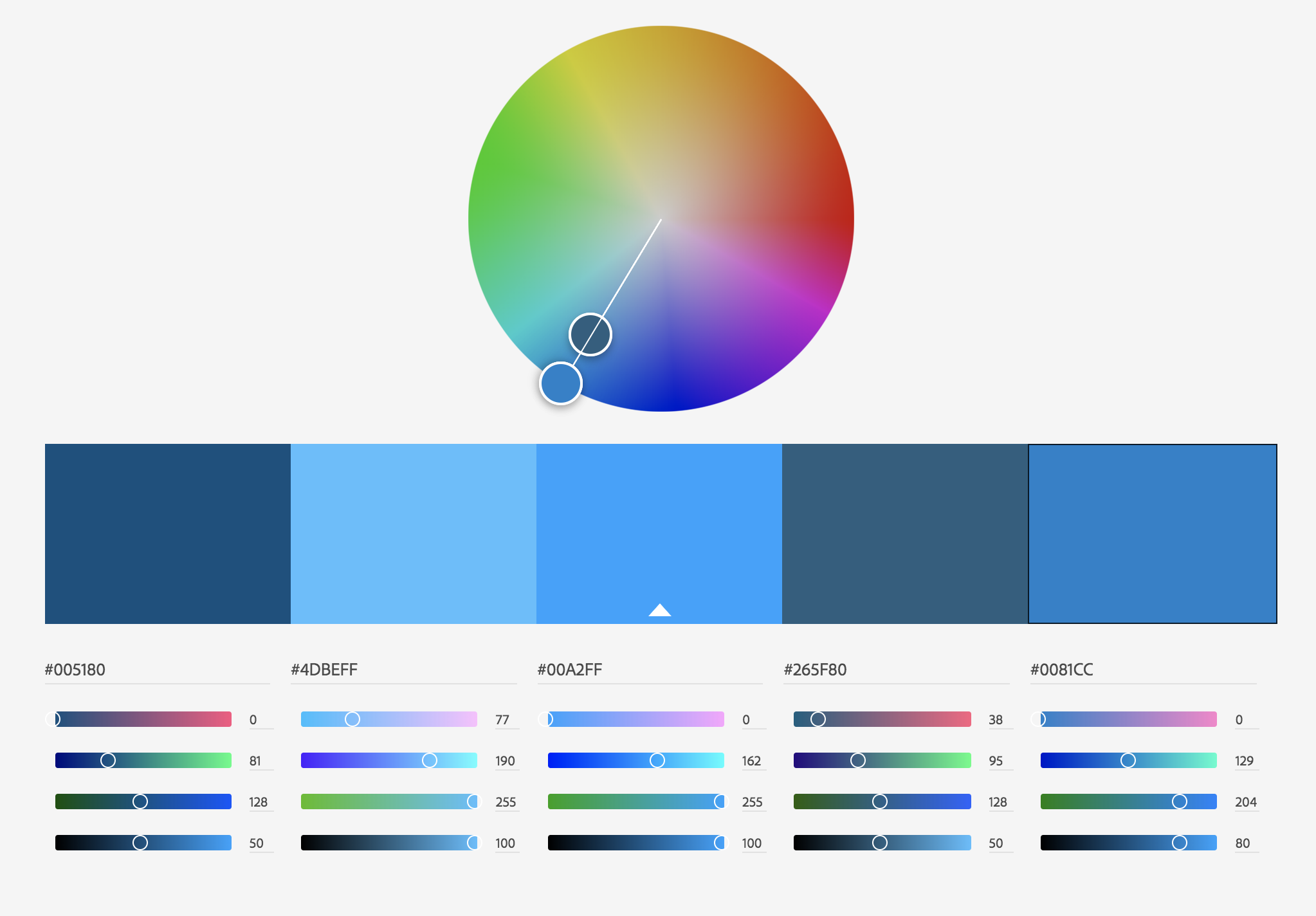 Monochrome color palette from Adobe Color