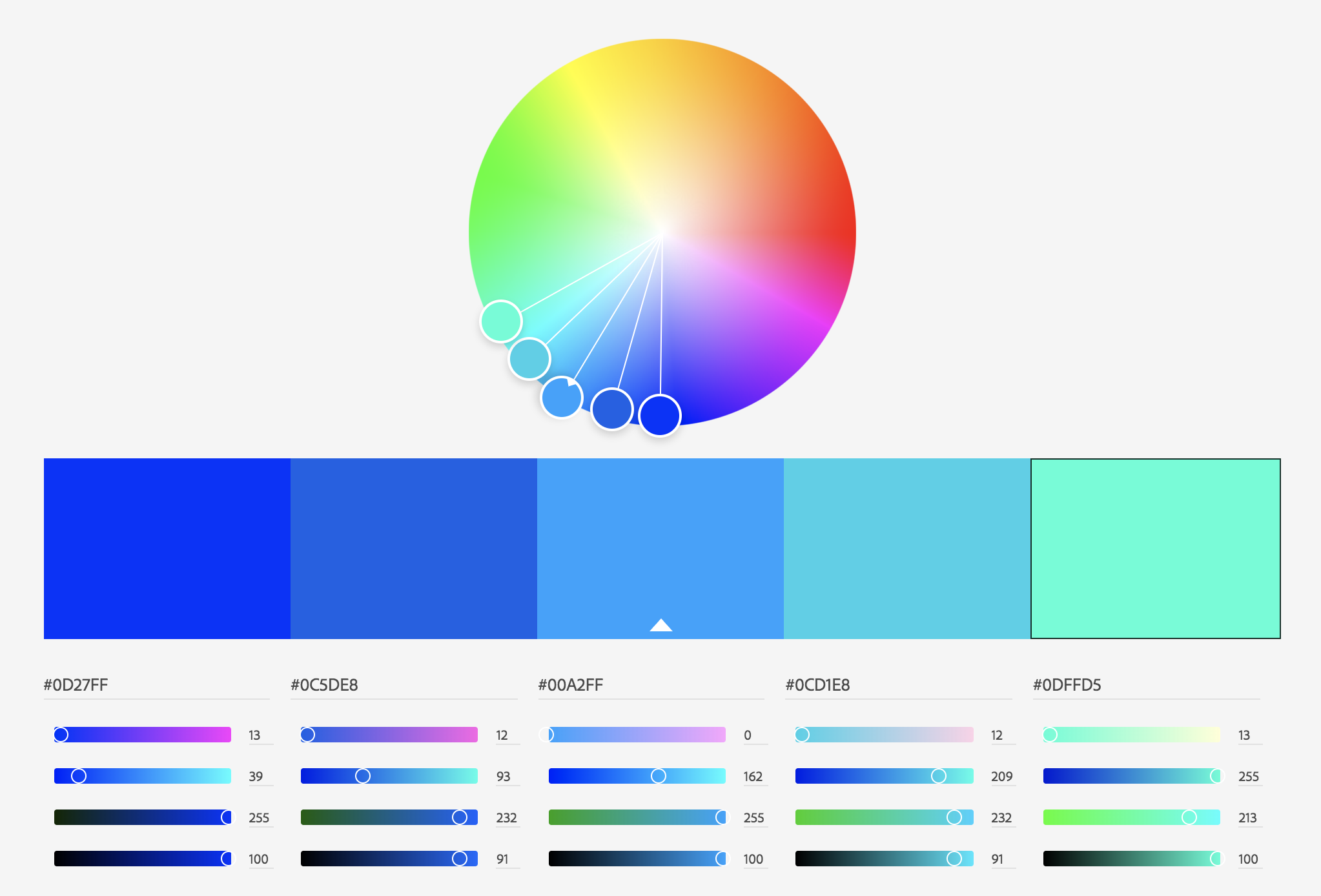 Analogous color palette from Adobe Color