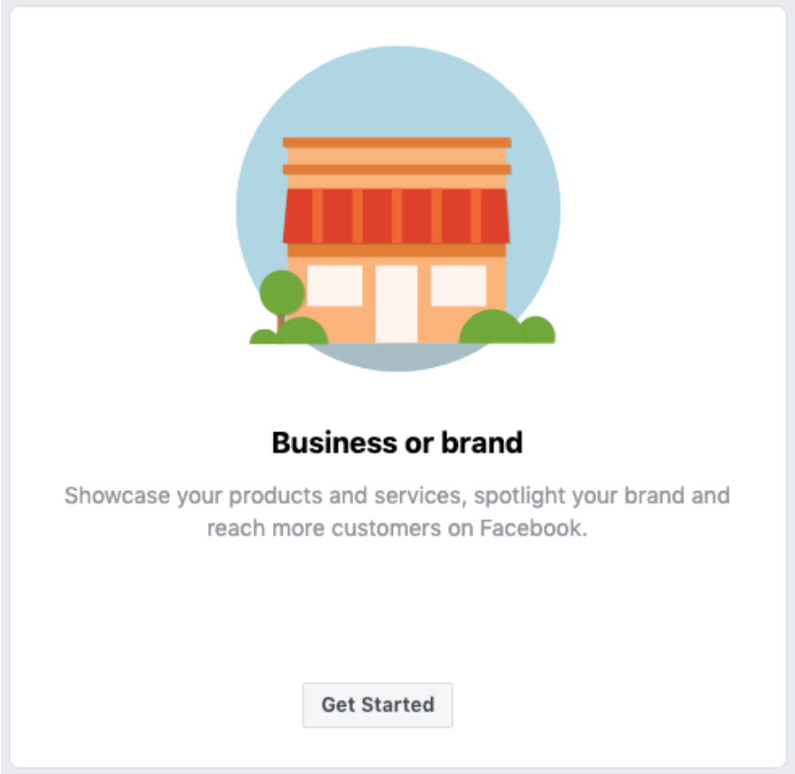 Facebook icon to start a business or brand page