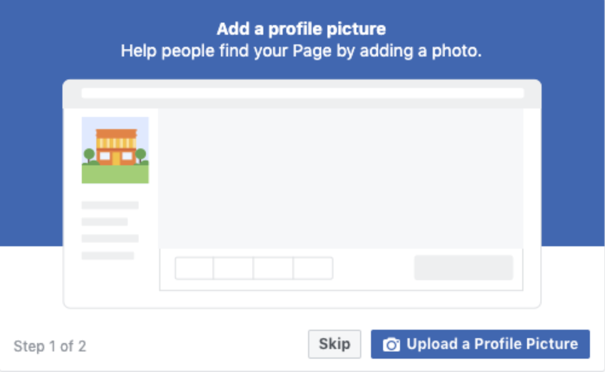 Facebook icon to add a profile picture and cover photo