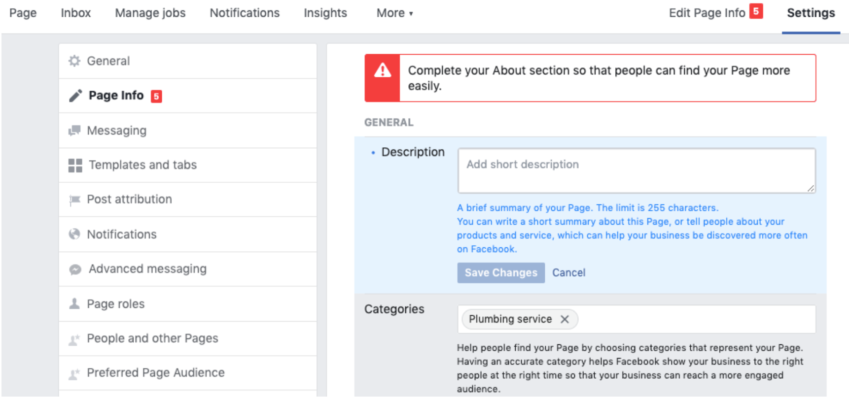 Screenshot of Page Info section on Facebook Business page