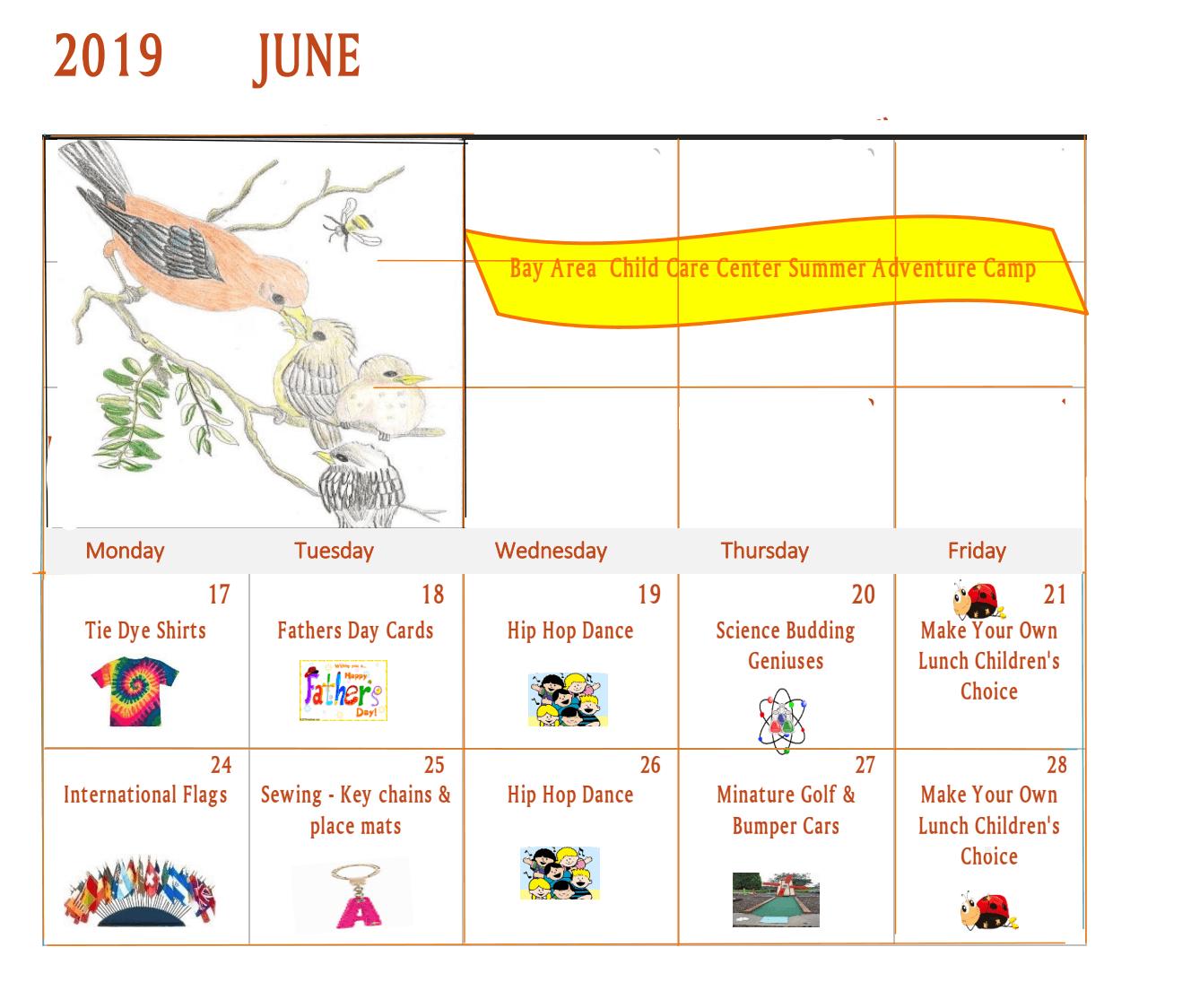 June 2019 Summer Calendar