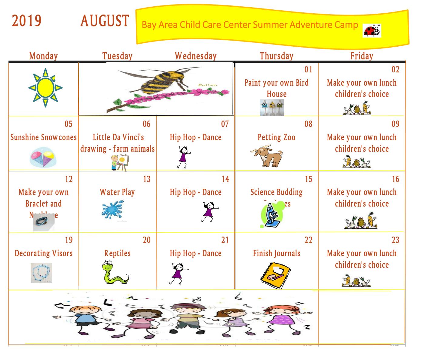 August 2019 Summer Calendar