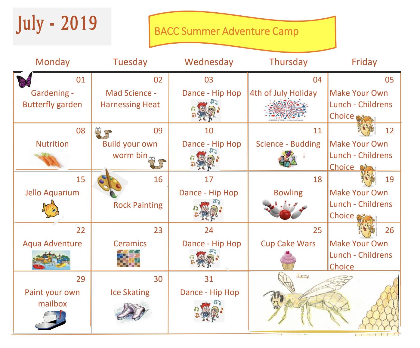 July 2019 Summer Calendar
