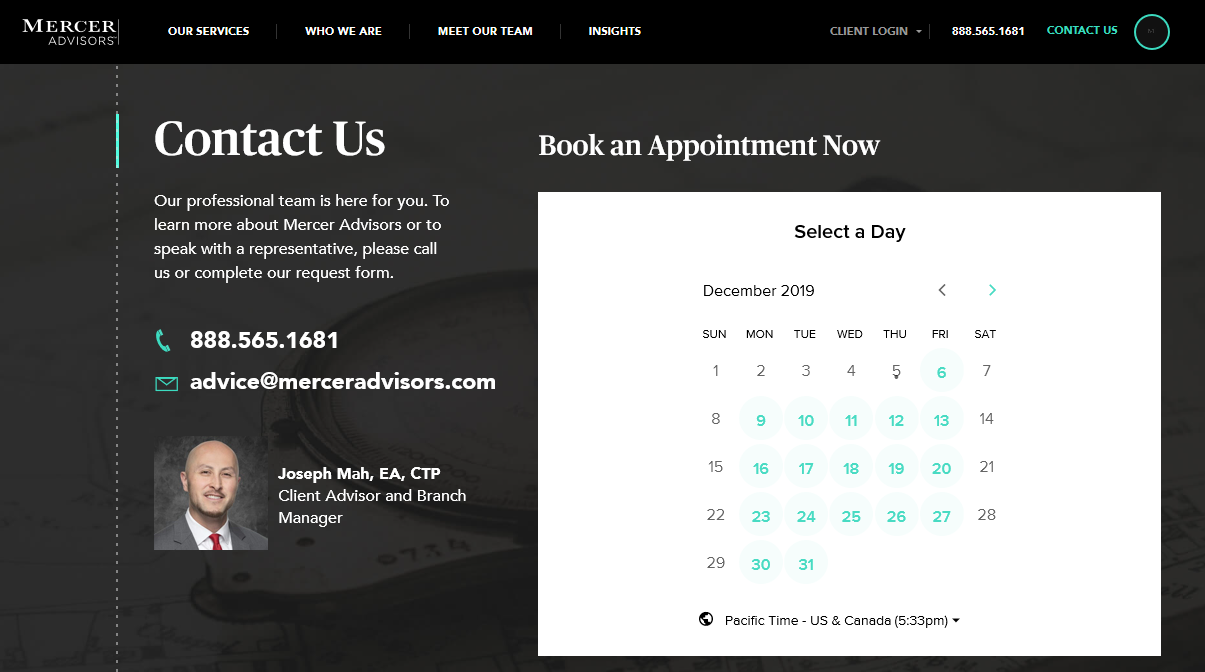 Calendar Booking Tool Example (MercerAdvisors.com)