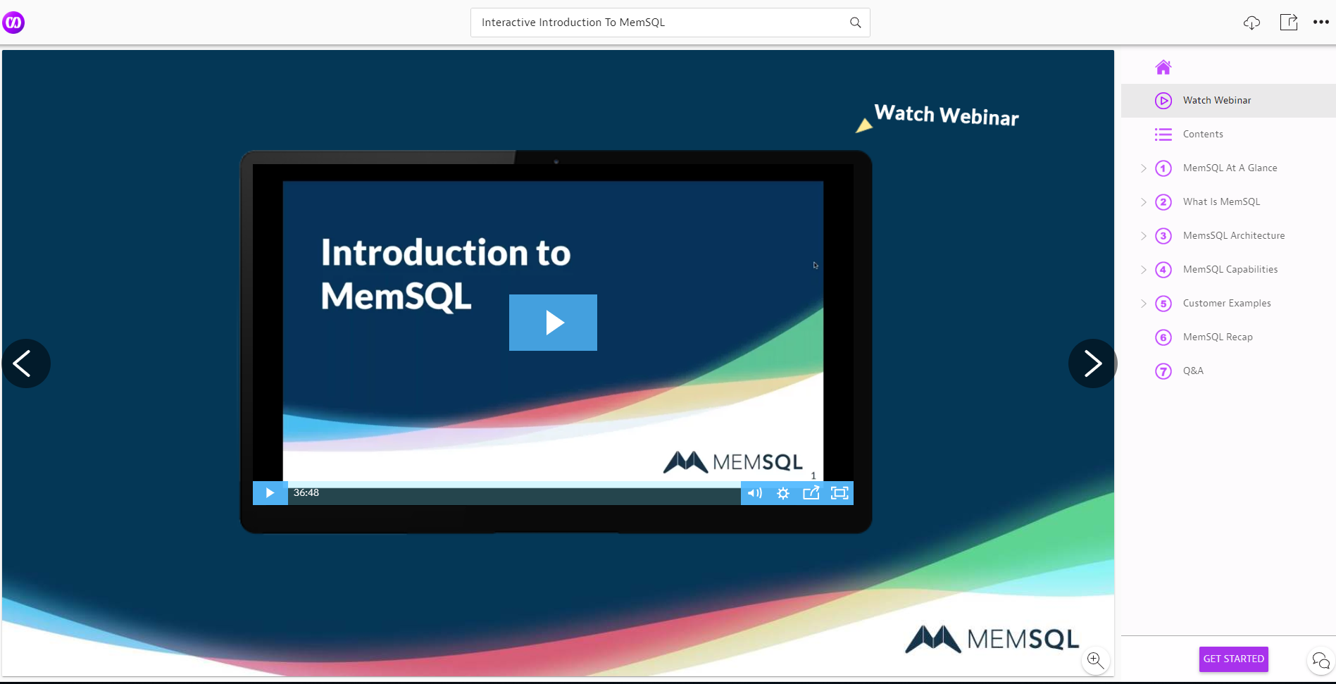 MemSQL Relayto Interactive Content Example