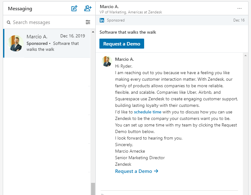 LinkedIn Message Ad Example