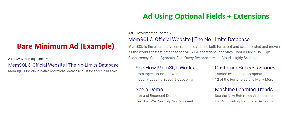 Google Ads Optional Fields