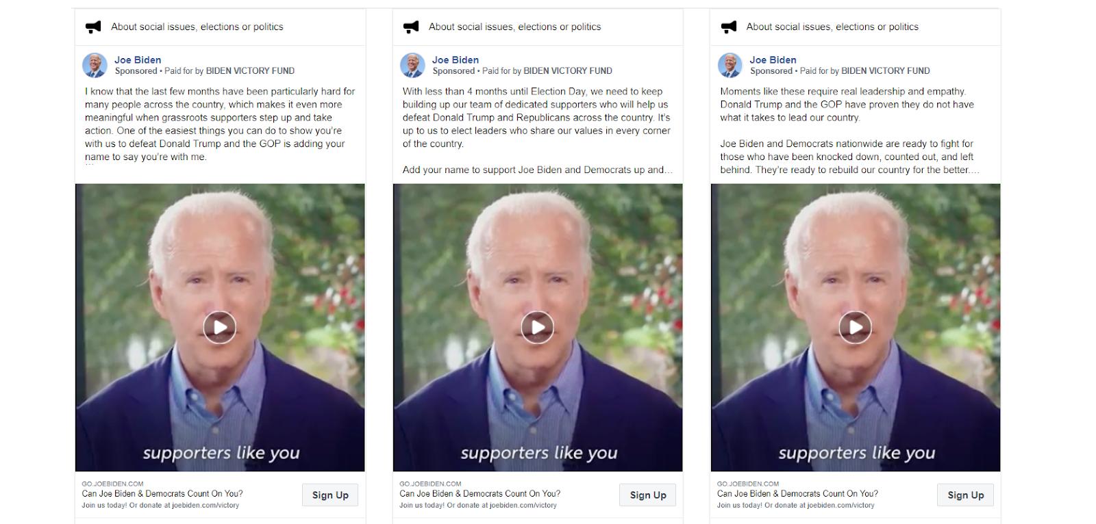 Biden's Facebook Ads