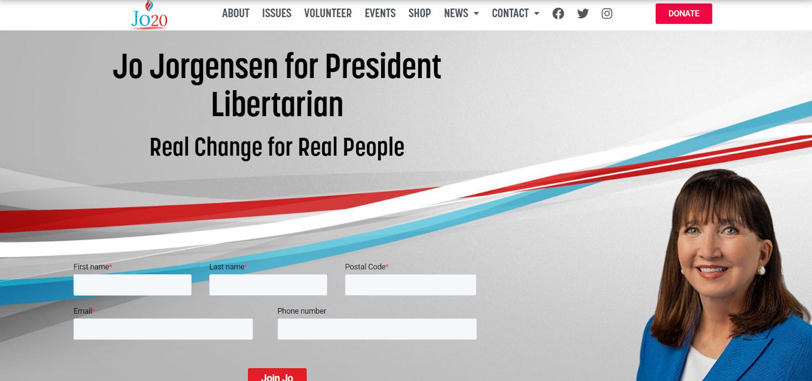 Jo Jorgensen Presidential Candidate Libertarian Website Homepage