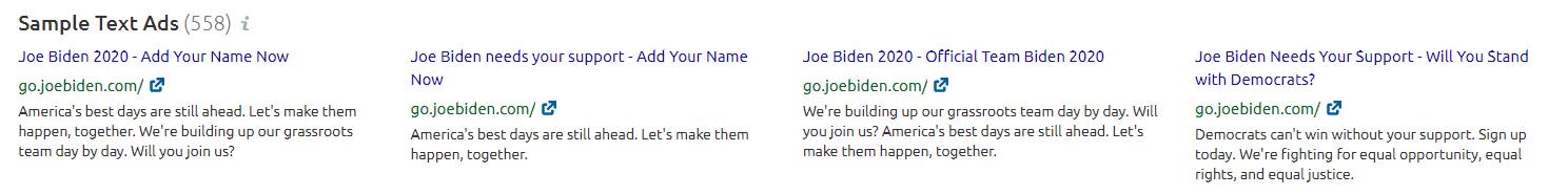Biden's Google Ads