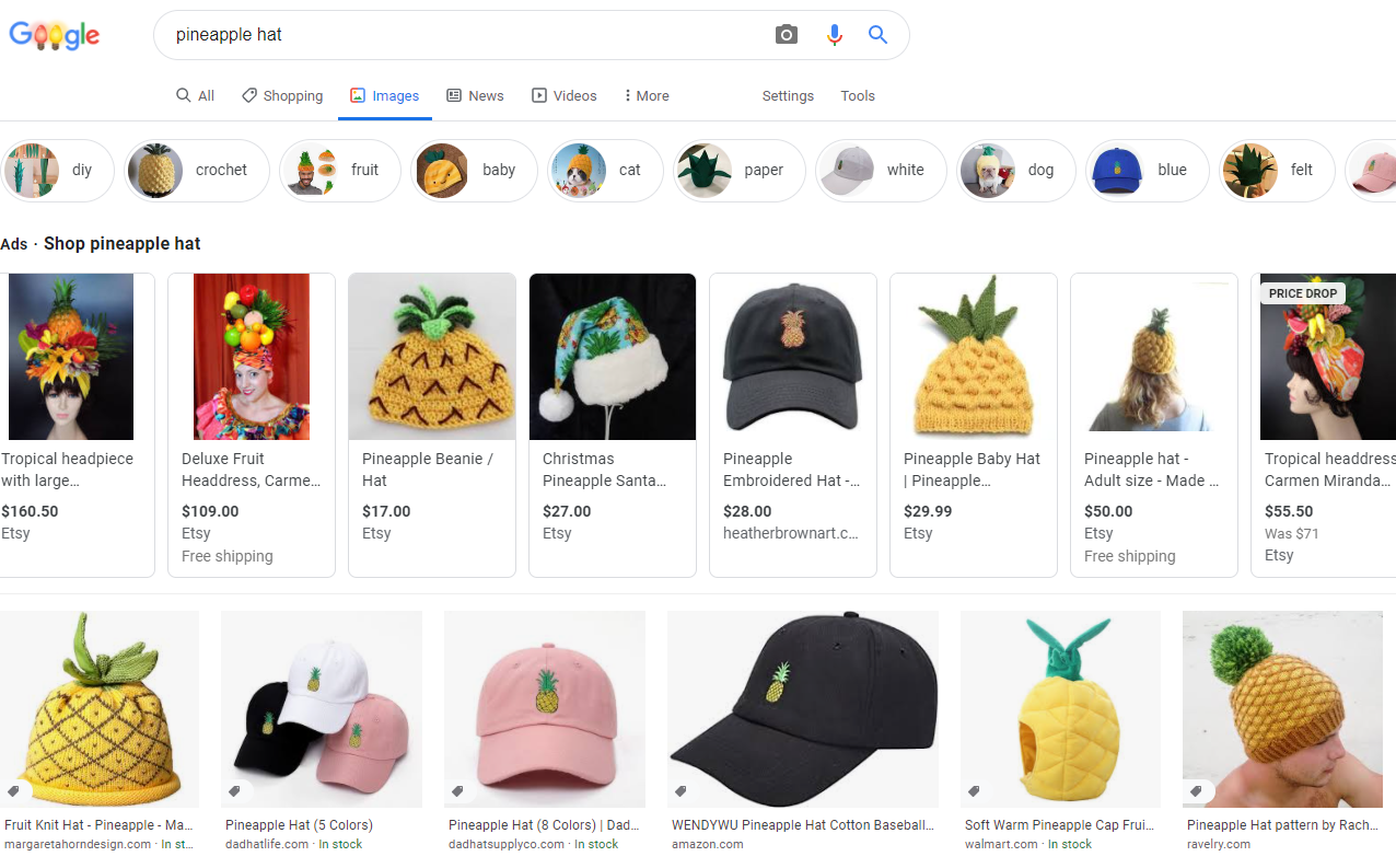 Image SEO - Pineapple Hat Example