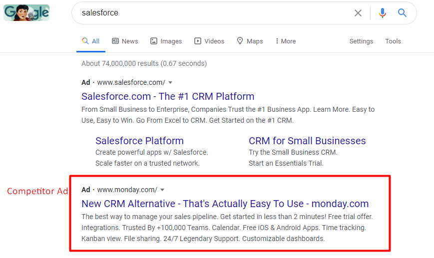 Example: Monday.com bids against Salesforce with Google Ads