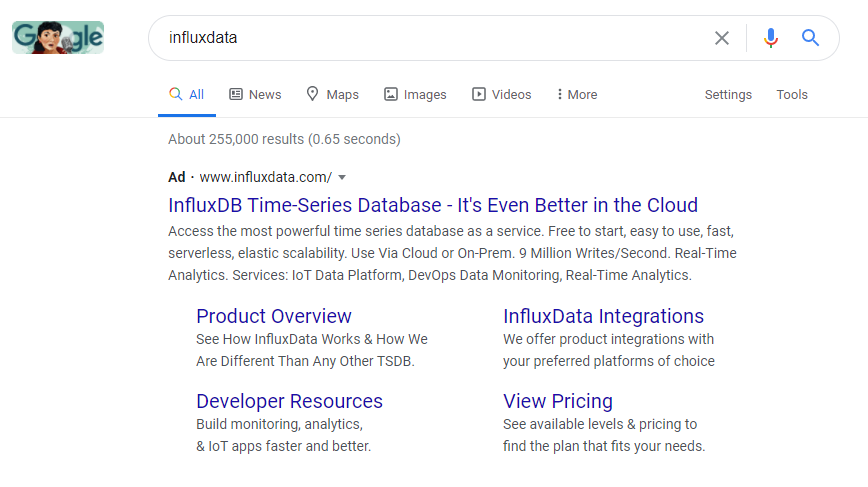 Influxdata uses branded ads to protect their own brand traffic